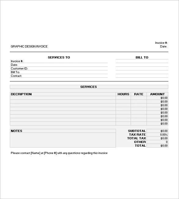 Graphic Design Invoice Templates \u2013 8+ Free Word, Excel, PDF Format - designing an invoice
