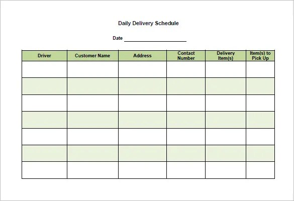 Delivery Schedule Templates \u2013 14+ Free Sample, Example Format
