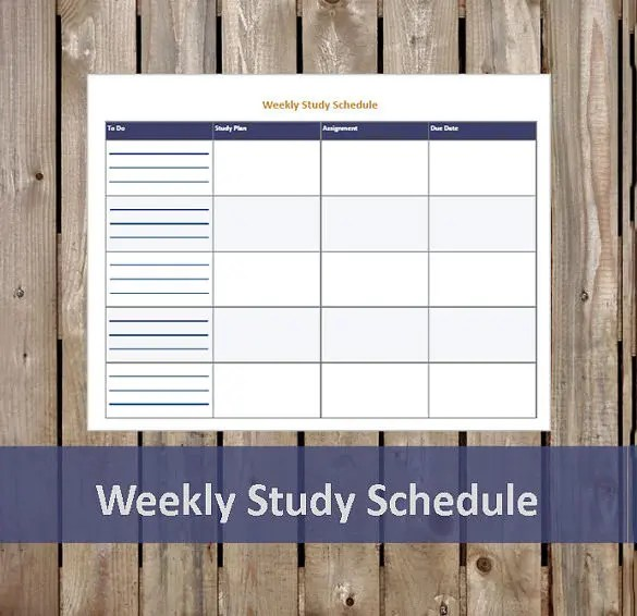 Study Schedule Templates \u2013 17+ Free Sample, Example Format Download - weekly study schedule