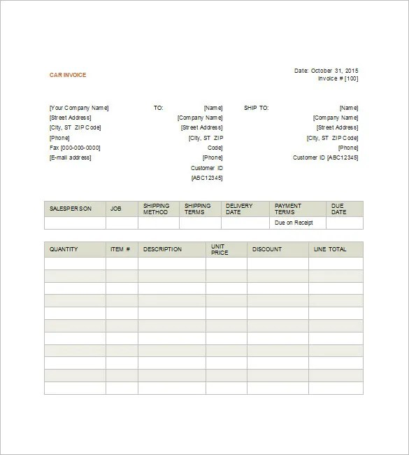 Car Invoice Templates \u2013 20+ Free Word, Excel, PDF Format Download