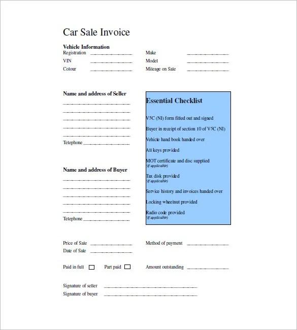Car Invoice Templates \u2013 20+ Free Word, Excel, PDF Format Download