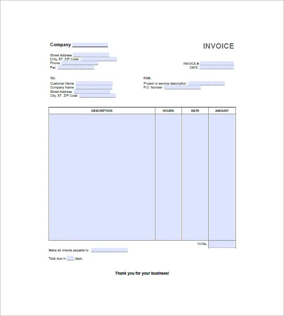 Hourly Invoice Template - 6+ Free Word, Excel, PDF Format Download