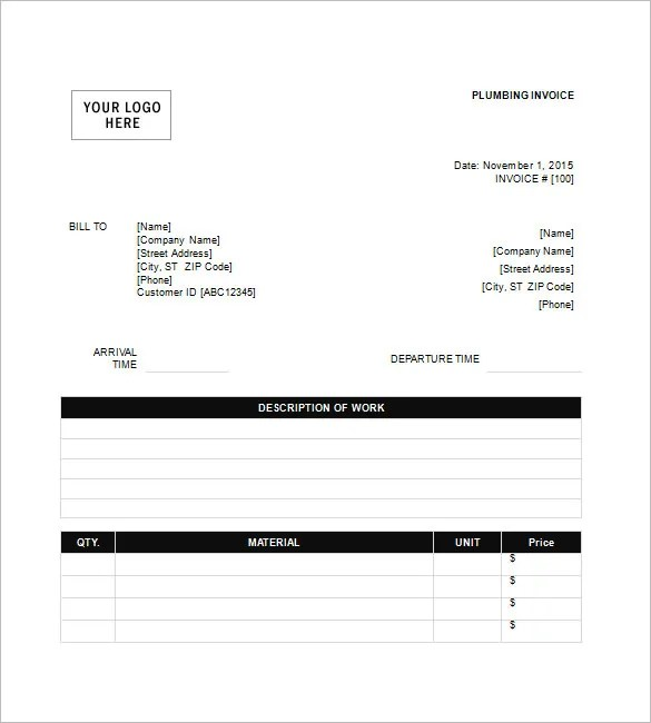 Plumbing Invoice Templates \u2013 8+ Free Word, Excel, PDF Format