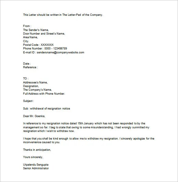 Letter Of Withdrawal Sample The Balance Resignation Letter Format Free Word Pdf Documents