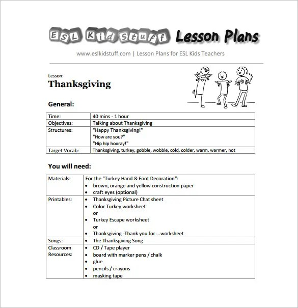 Kindergarten Lesson Plan Template - 3 Free Word Documents Download