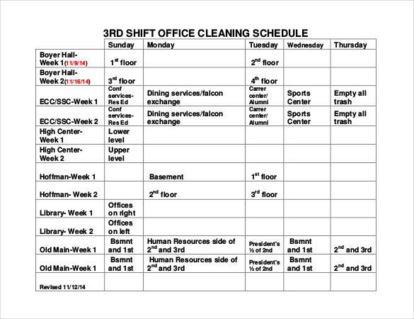 excel template work schedule