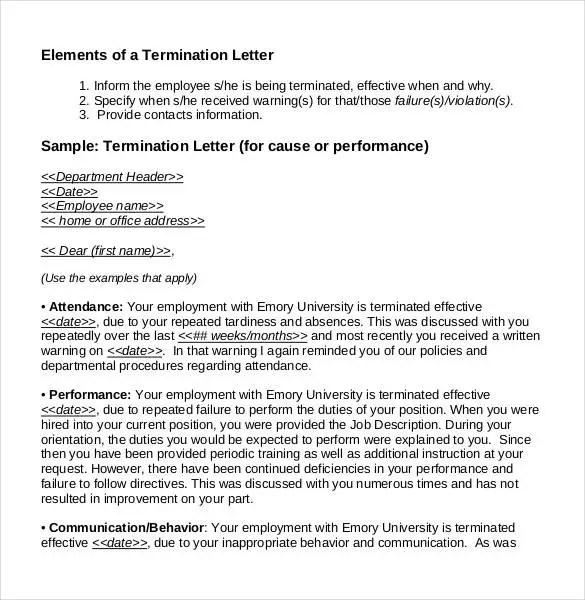 23+ Free Termination Letter Templates - PDF, DOC Free  Premium - Example Of A Termination Letter