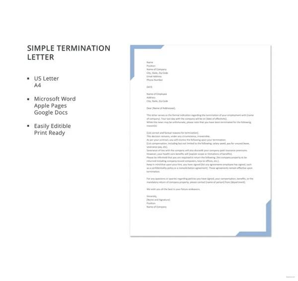 23+ Free Termination Letter Templates - PDF, DOC Free  Premium - free termination letter