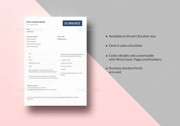 Dj Invoice Template - 8+ Free Word, PDF Documents Download Free
