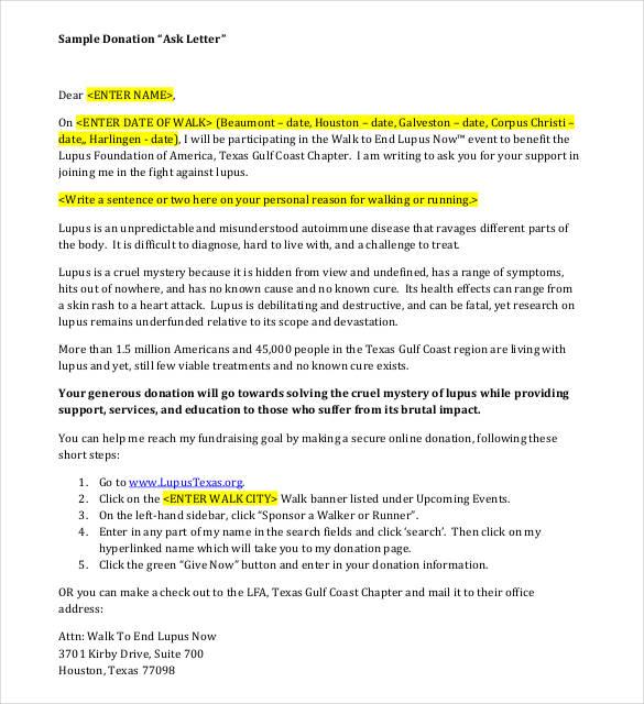 35+ Donation Letter Templates - PDF, DOC Free  Premium Templates - personal sponsorship letter