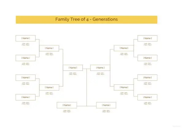 Family Tree Template \u2013 140+ Free Word, Excel, PDF Format Download