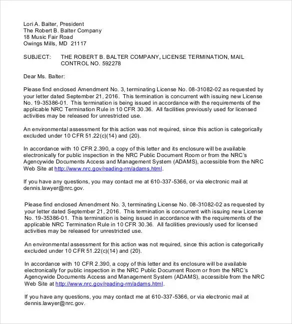 Free Termination Letter Template - 23+ Free Sample, Example, Format - termination letter 2