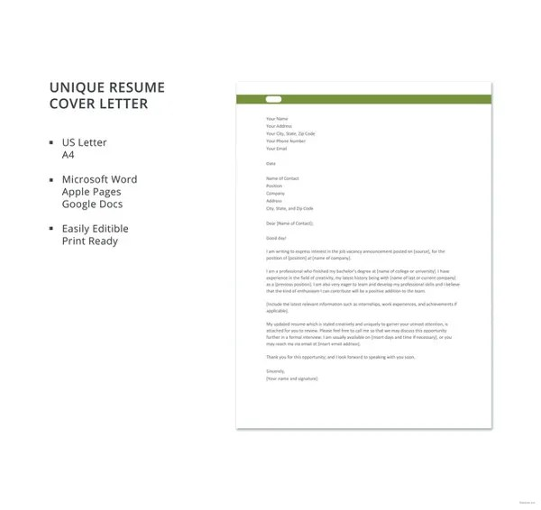 Resume Cover Letter - 23+ Free Word, PDF Documents Download Free - great cover letters for resumes