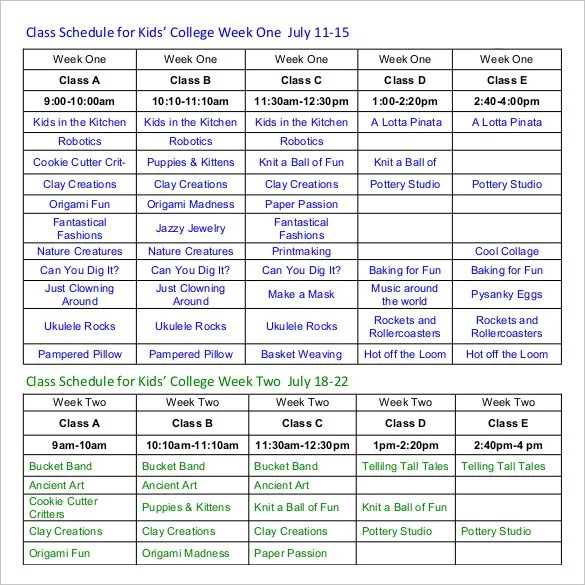 Class Schedule Template - 36+ Free Word, Excel Documents Download - weekly class schedule template