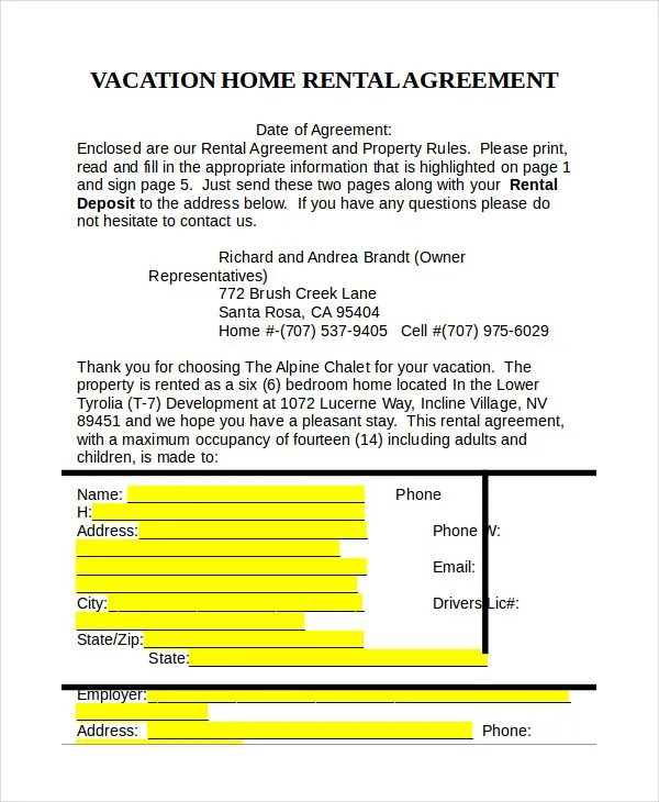 Rental Agreement Form - 14+ Free Sample, Example, Format Free