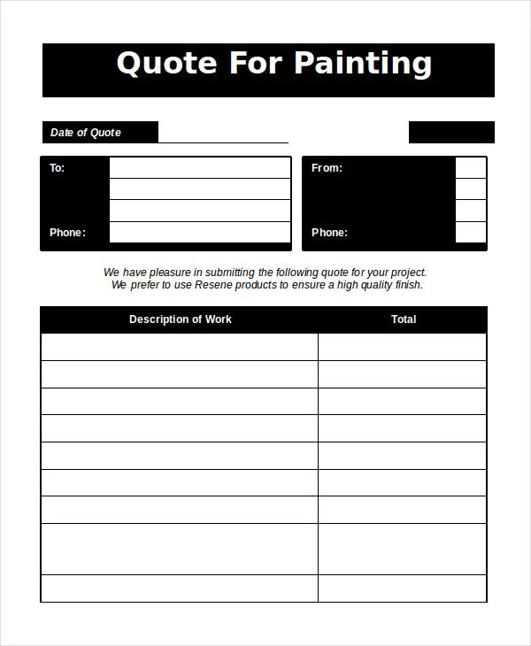 painting estimate template free