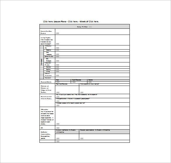 9+ Common Core Lesson Plan Template - PDF, DOC Free  Premium
