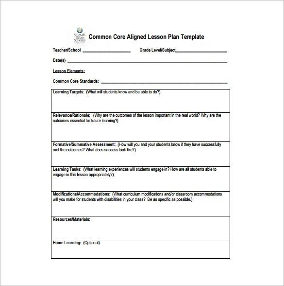 Common Core Lesson Plan Template \u2013 9+ Free Sample, Example, Format - sample common core lesson plan