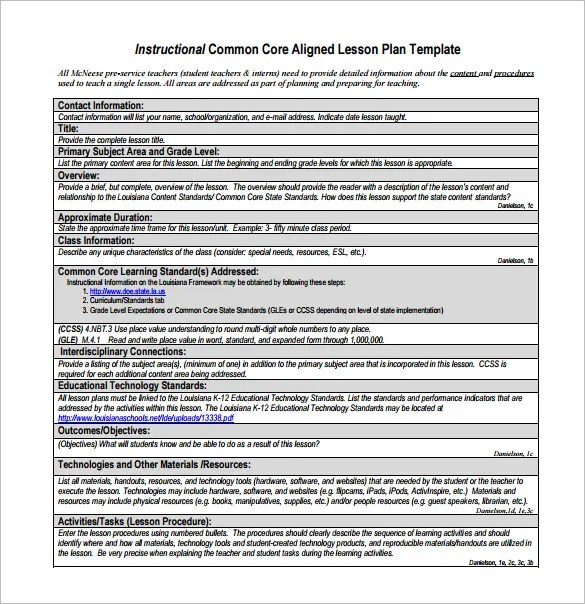 Common Core Lesson Plan Template \u2013 8+ Free Word, Excel, PDF Format