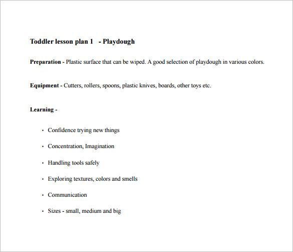 8+ Toddler Lesson Plan Templates - PDF, Word, Excel Free  Premium
