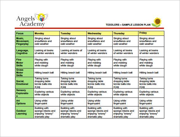 10+ Toddler Lesson Plan Templates - PDF, Word, Excel Free