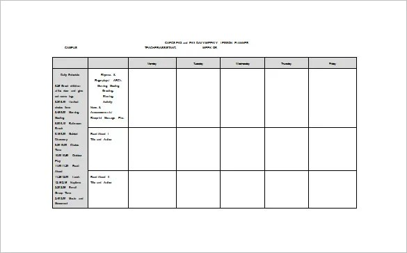 Weekly Lesson Plan Template \u2013 8+ Free Word, Excel, PDF Format - sample weekly lesson plan