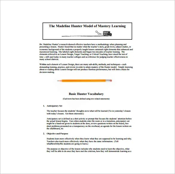 Madeline Hunter Lesson Plan Template - 6+ Free Sample, Example