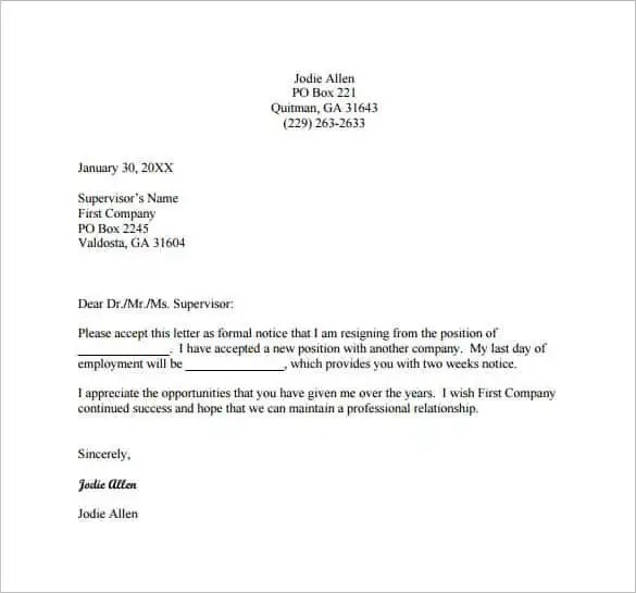 28+ Simple Resignation Letter Templates - PDF, DOC Free  Premium - Simple Resignation Letter