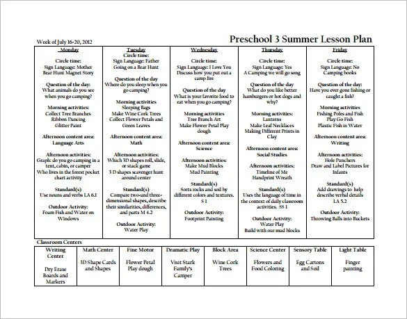 20+ Preschool Lesson Plan Templates - DOC, PDF, Excel Free - Preschool Lesson Plan