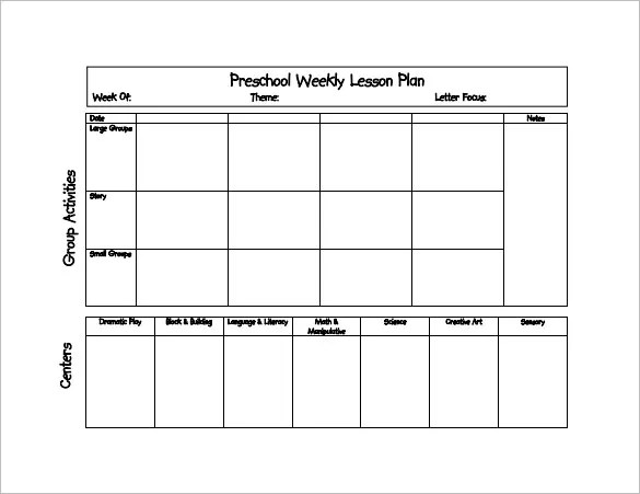 Preschool Lesson Plan Template - 21+ Free Word, Excel, PDF Format - preschool lesson plan template