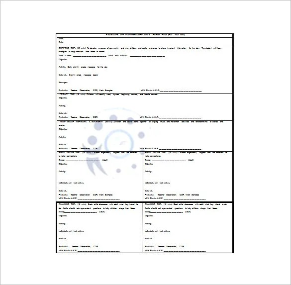 Preschool Lesson Plan Template \u2013 11+ Free Sample, Example, Format - lesson plan outline