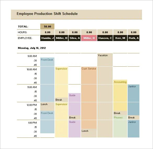 production scheduling template excel