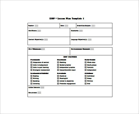 Siop Lesson Plan Template - Free Word PDF Documents Download Free - Sample Siop Lesson Plan Template