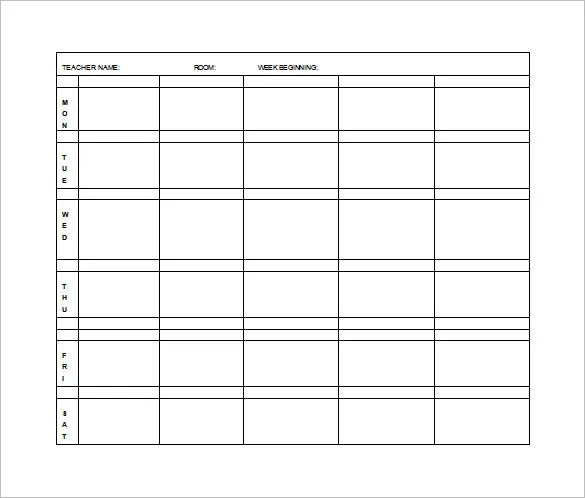 elementary weekly lesson plan template - Selol-ink