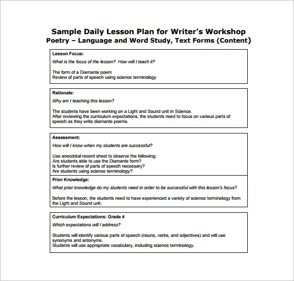 Daily Lesson Plan Template - 13+ Free Sample, Example, Format - free daily lesson plan template