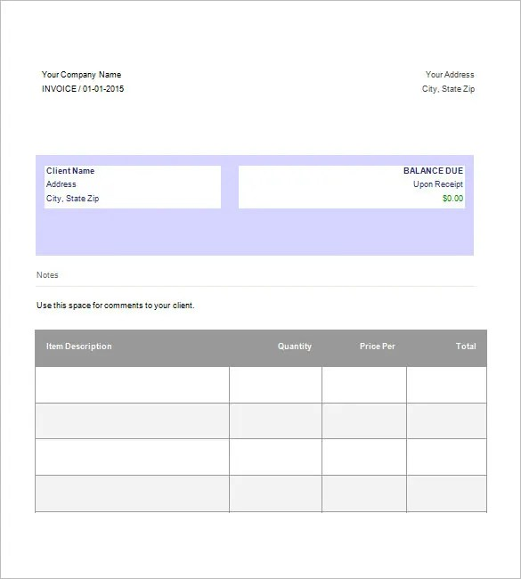 Google Invoice Template - 25+ Free Word, Excel, PDF Format Free - weekly invoice template