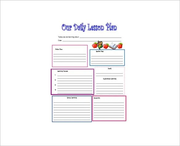 Daily Lesson Plan Template \u2013 12+ Free Sample, Example, Format - lesson plan outline