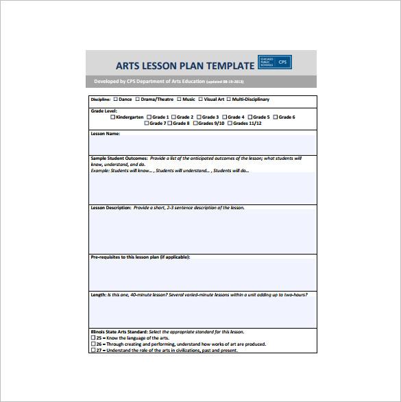 Teacher Lesson Plan Template u2013 9+ Free Sample, Example, Format - art lesson plans template
