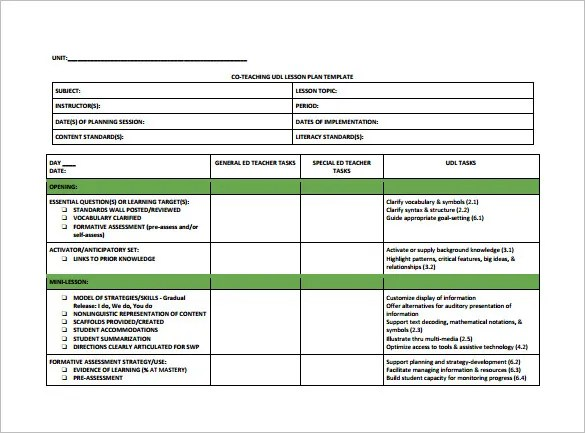 Teacher Lesson Plan Template \u2013 9+ Free Sample, Example, Format