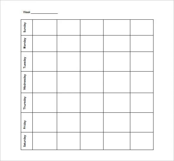 Blank Schedule Template \u2013 21+ Free Word, Excel, PDF Format Download - monday to sunday schedule template