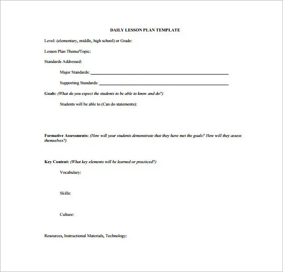 High School Lesson Plan Template \u2013 9+ Free Sample, Example, Format