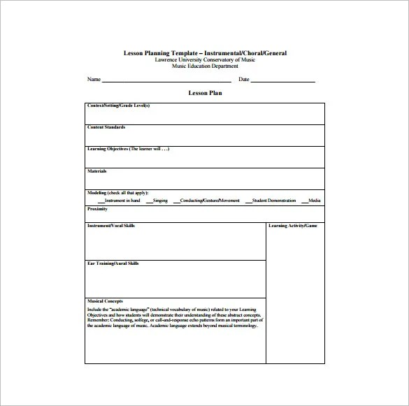 Music Lesson Plan Template - 7+ Free Word, Excel, PDF Format