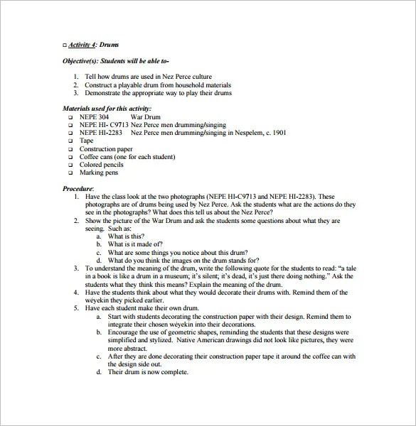 Music Lesson Plan Template \u2013 7+ Free Word, Excel, PDF Format