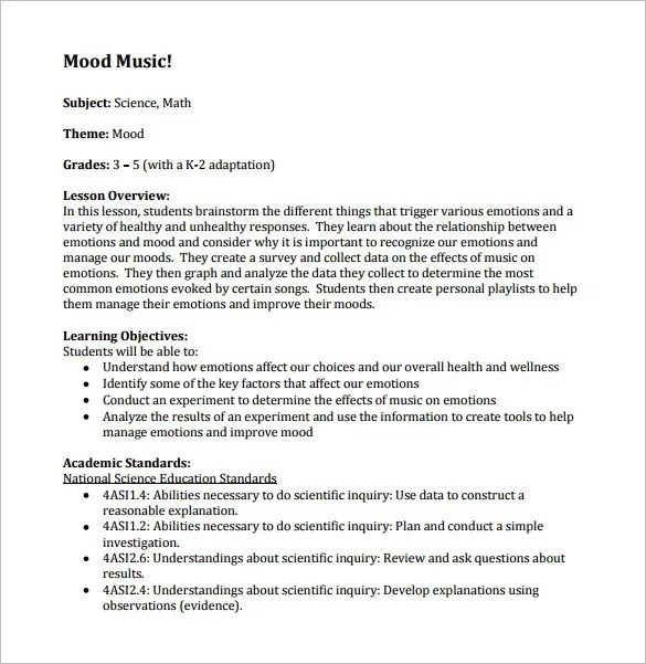 Music lesson plan template for Ktip lesson plan template