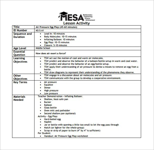 Middle School Lesson Plan Template \u2013 8+ Free Sample, Example, Format - high school lesson plan template