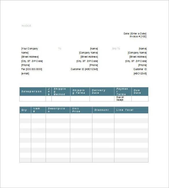 Generic Invoice Template \u2013 8+ Free Word, Excel, PDF Format Download - generic invoice template word