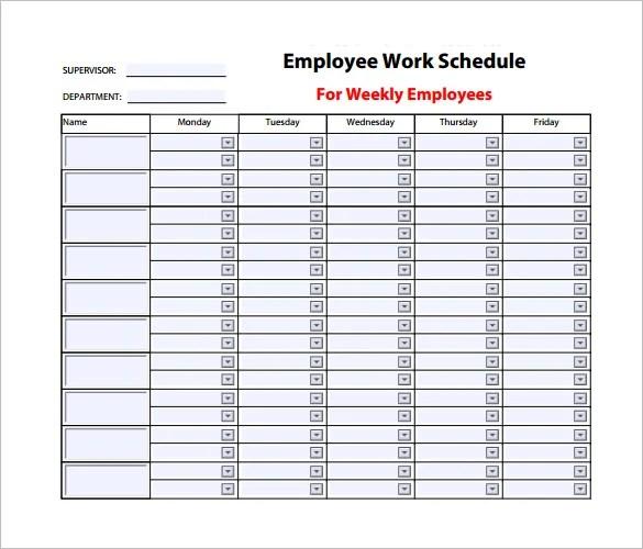 employee weekly schedule template - Acurlunamedia