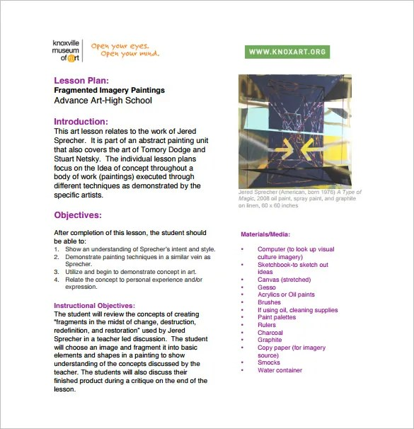 Art Lesson Plans Template The Smartteacher Resource MarzanoCommon