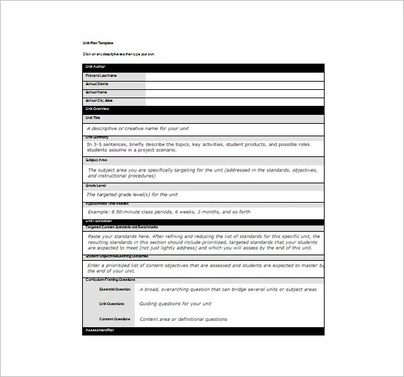 Unit Lesson Plan Template \u2013 9+ Free Sample, Example, Format Download - sample unit lesson plan template