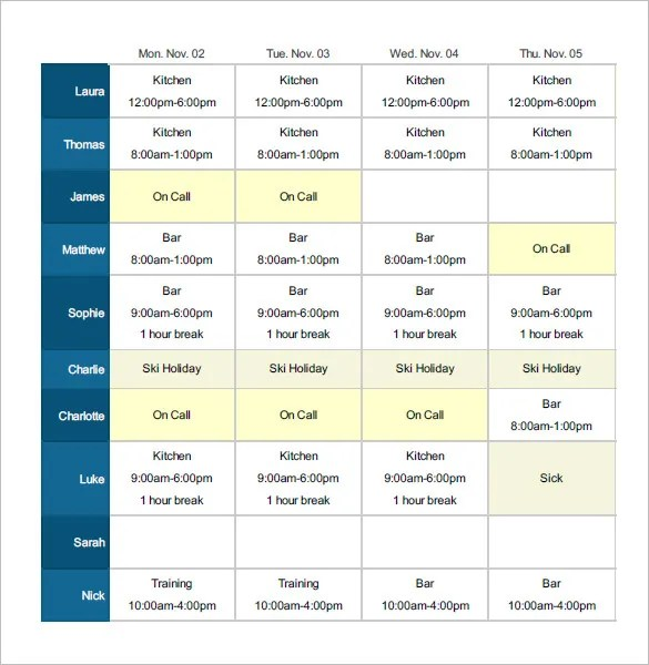 Employee Shift Schedule Template - 12+ Free Word, Excel, PDF Format